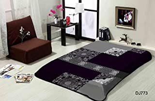 Ramano Collections Korean Style Mink Blanket Queen Size Luxury 8 Lbs Heavy Plush Reversible Raschel Quality Warm Super Soft Luxurious Comfy Embossed (Gray Black White Pattern, King)
