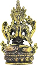 FITYLE Buddha Statue Hand-Painted Bronze Hindu Tribal God Meditation Statue - Four-Armed Guanyin, as described