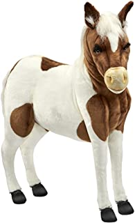 HANSA Ride-On Shetland Pony Stuffed Plush Animal, Brown & White