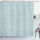 ABAKUHAUS Anker Duschvorhang, Zigzags Maritime Dots, Bakterie Schimmel Resistent inkl. 12 Haken Waschbar Stielvoller Digitaldruck, 175 x 220 cm, Seafoam Teal