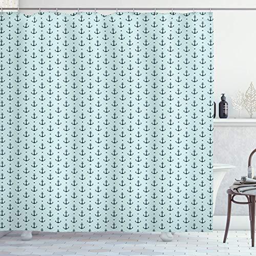 ABAKUHAUS Anker Duschvorhang, Zigzags Maritime Dots, Bakterie Schimmel Resistent inkl. 12 Haken Waschbar Stielvoller Digitaldruck, 175 x 180 cm, Seafoam Teal