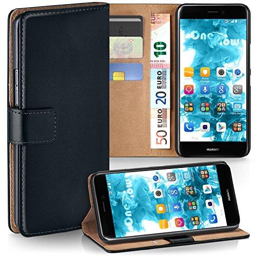 MoEx Premium Book-Hülle Handytasche kompatibel mit Huawei P8 Lite 2017 | Handyhülle mit Kartenfach & Ständer - 360 Grad Schutz Handy Tasche, Schwarz