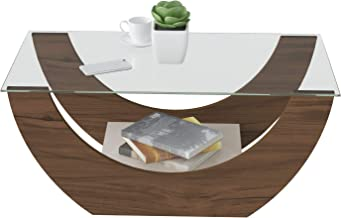 Artely Onda Coffee Table with Glass, Walnut Brown with Off White - W 82.5 x D 42.5 x H 36 cm.