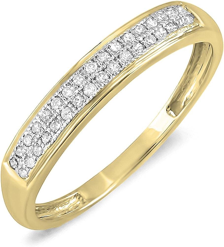 Dazzlingrock Collection 0.13 Carat (ctw) 10K Gold Round White Diamond Ladies Anniversary Wedding Band