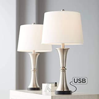 Seymore Modern Table Lamps Set of 2 with USB Port LED Touch On Off Silver White Drum Shade for Living Room Bedroom Family - 360 Lighting