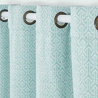 PimpamTex - Cortinas Jacquard Semi Opacas para Salón, Dormitorio y Habitación, con 8 Ojales, 140 x 260 cm, Modelo Jacq. Chenilla Flecha - (Verde, 1)