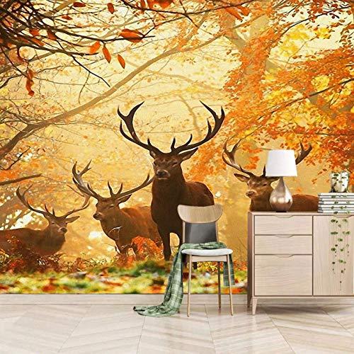 Msrahves Fotomural TV Otoño alce bosque pradera Murales adhesivos y pegatinas de pared Papel pintado suministros pintado Papel pintado Hogar cocina Obras de arte material decorativo