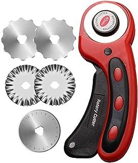 Cutter rotatif avec 5 lames de coupe de 45 mm de diamètre pour tissu, papier, tissu, couture, accessoires pour travaux man...
