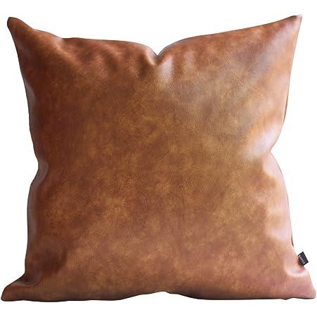 18x18 Cognac Vegan Faux Leather Pillow Cover