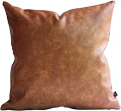 Best Kdays Thick Brown Faux Leather Throw Pillow Cover Cognac Leather Decorative Throw Pillow Case Farmhouse Decor Sofa Couch Cushion Covers Modern Minimalist Vegan Pillow Cover 18x18 Inches Review