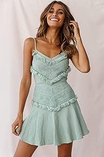 Onlymygod Prom Beautiful Dress Fashion Pretty lace Fringed Stitching Camisole Dress