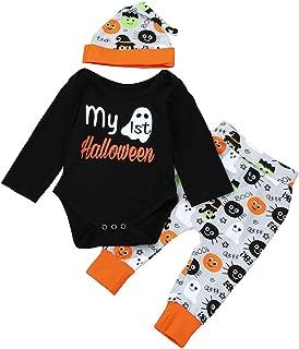 iLOOSKR Halloween Newborn Kids Baby Girls Boys Outfits Clothes Letter Pattern Romper Tops Pants Hat Set