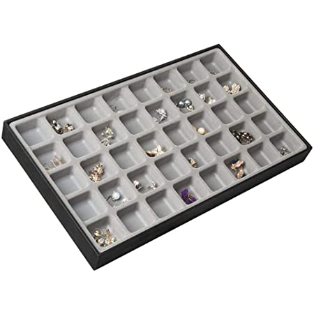 JackCubeDesign 40 Compartments Stackable Synthetic Leather Jewelry Tray Earring Necklace Bracelet Ring Organizer Display Storage Box(Set of 1, Black, 16 x 9.6 x 1.6 inches)- MK212-1A