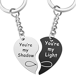Top Plaza Heart Couples Keychains Keyrings You Are My Shadow/Light Puzzle Matching Key Chain Key ring Set 2 Pcs