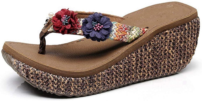 CYBLING Women's Bohemian Flower Summer Platform Wedge Beach Flip Flop Thong Sandals