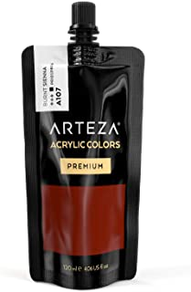 ARTEZA Acrylic Paint Raw Sienna Color (120 ml Pouch, Tube), Rich Pigment, Non Fading, Non Toxic, Single Color Paint for Artists, Hobby Painters & Kids