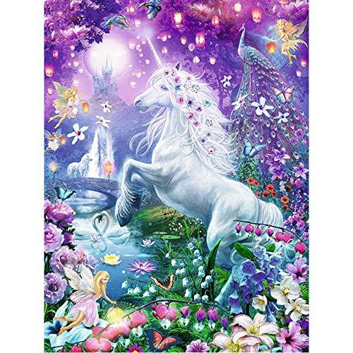 luckykyky 5D Diamond Painting Mosaic Daimond Flower Fairy Unicorn Diamant Embroidery Animal Gifts Round Diamond 3D Unframed 40x50cm