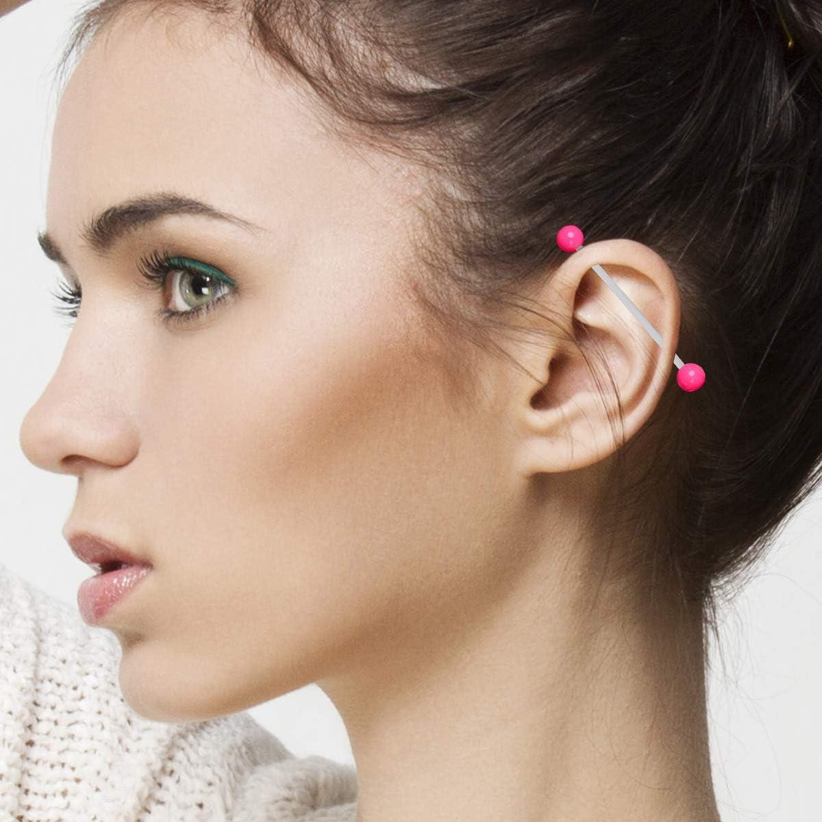 CrazyPiercing 10 Pcs Industrial Barbell Earrings 14G Bioflex Cartilage Earring Body Piercing Jewelry 38mm Bar Colorful Acrylic Balls