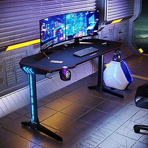 ELEGANT Gaming Desk with LED Lights Large 1400x600mm I Shaped Computer Table Workstations for Home and Office with Headphone Hooks,Cup Holder and Full XL Mouse Pad Black
