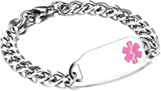 Personalized Customize Stainless Steel Medical Alert ID Awareness Bracelet for Women and Men,5.5-8.5 inches,Free Engraving