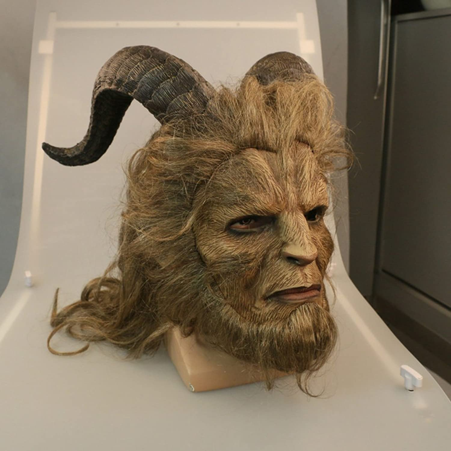KY YK Beast Mask Beauty and Adult Helmet Full Face Mask Royal Mask Robbie Benson LaTeX Mask Makeup cosplay Party Halloween LaTeX Mask (Long Hair)
