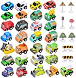 38 Car Toys Set, 30 Toy Cars and Trucks,8 Road Signs, Mini Pull Back Construction Vehicles, Perfect Birthday Party Supplies for Boys, Toddlers and Kids