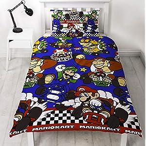 Nintendo Mario Kart – Funda nórdica reversible para cama individual y doble
