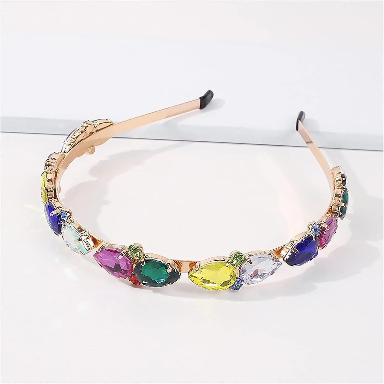 JIAQ Rhinestone Crystal Baroque Hairbands for Women Hair Accessories Korea Headband for Girls Crown Flower Headbands Head Wrap (Color : Multi)