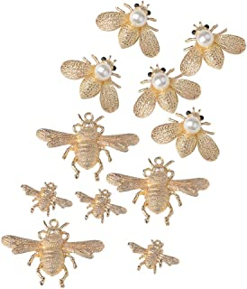 Prettyia 11 Pieces Metal Bees Alloy Flatback Craft Sewing Buttons Pearl Embellishment for Garment Bags Shoes Applique Decorations DIY Scrapbooking Card Making