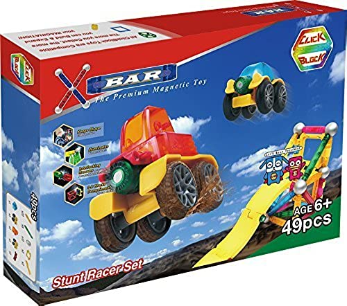ClickBlock X-Bar Premium Magnetic Construction Toy-Stunt Racer Set, 49 Piece by ClickBlock
