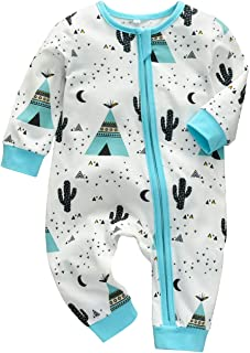 Newborn Baby Boy Cotton Zip up Sleep and Play,Footless,Long Sleeve Cactus Printed Romper Jumpsuit