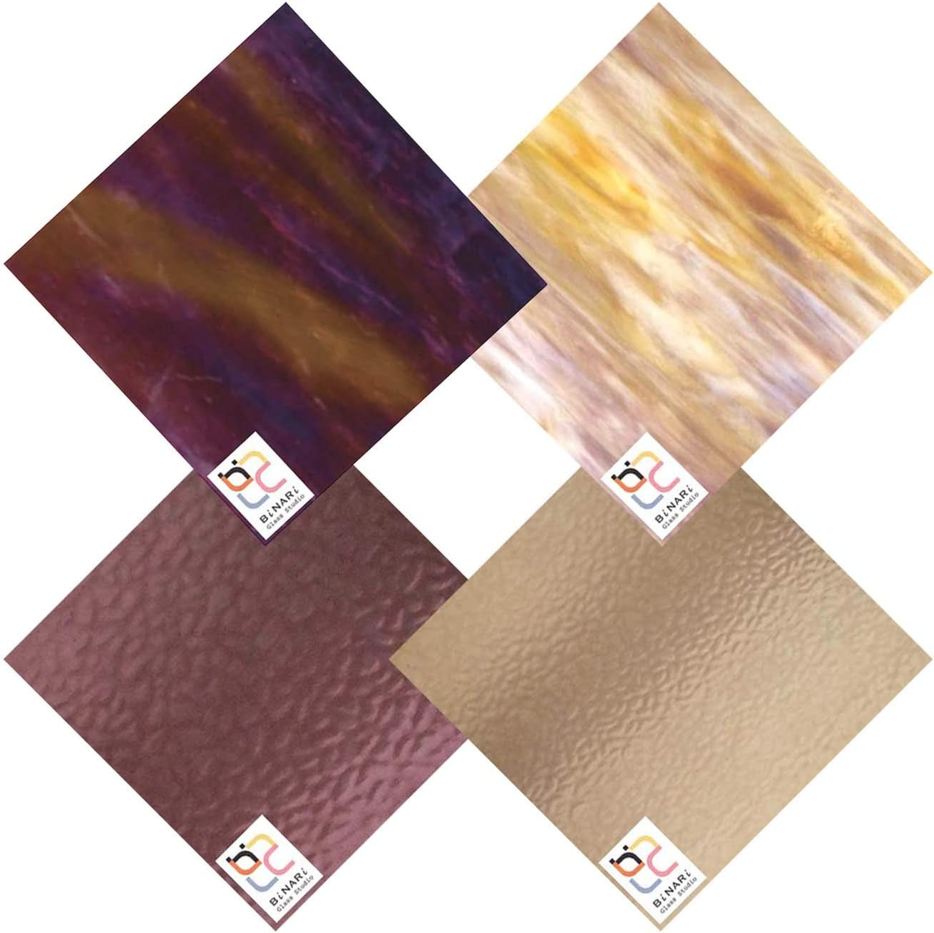 Wissmach 4 Sheet Mixed Color Pack Stained All stores are sold Variety Glass Super sale period limited Grape