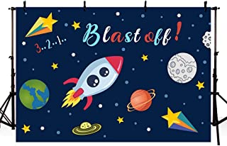 MEHOFOTO Space Photo Background Cartoon Outer Space Blast Off Planet Starry Sky Rocket Ship Boy Birthday Party Backdrops Banner for Photography 7x5ft