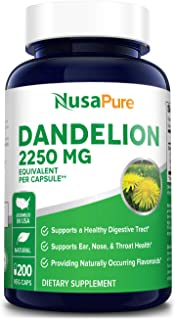 Dandelion Extract 2250mg 200 Veggie Capsules (Non-GMO, Extract 5:1 & Gluten Free) Taraxacum Officinale - Supports Kidney H...