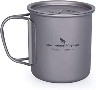 Boundless Voyage Outdoor Titanium Mug with/Without Lid and Folding Handle Water Cup Camping Hiking Titanium Portable Table...