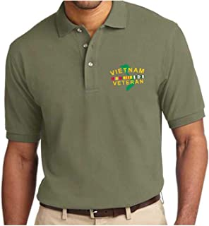 Vietnam Veteran Embroidered Polo Shirt with Service Ribbon and Map