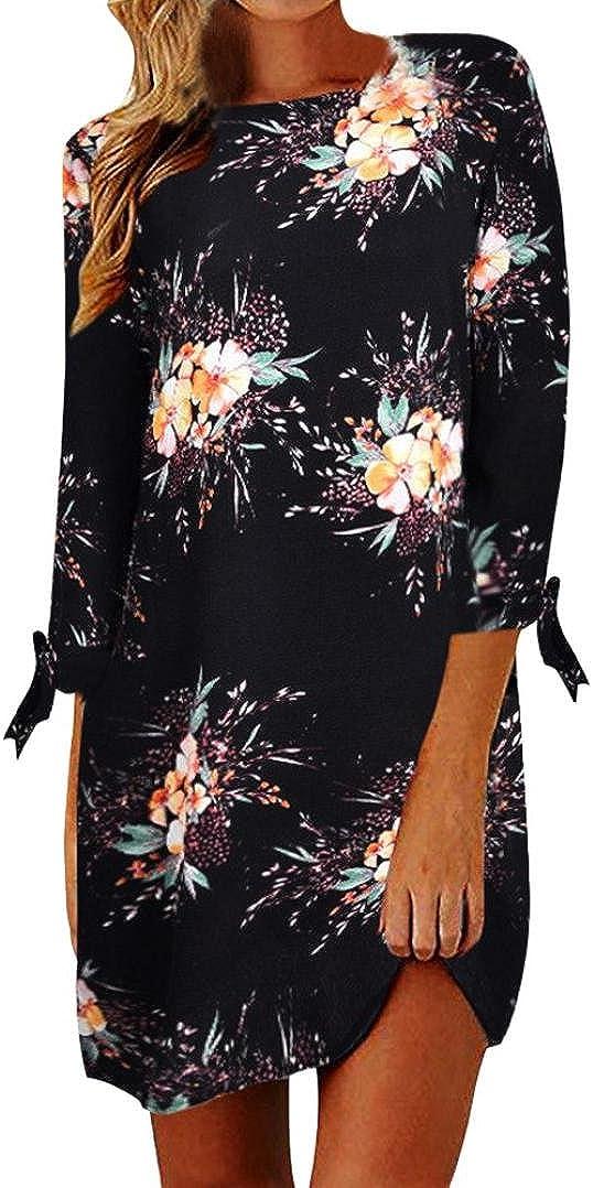 TOPUNDER Bohemian Floral Dress for Women Knee Length Long Sleeve High Neck Dresses Casual