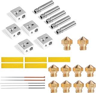 Nozzle for MK10 3D Printer 4Pcs 0.4mm Nozzle +1Pcs Nozzle x (0.2 0.3 0.5 0.6 0.8 mm) with 5pcs x (Cleaning Needles +Aluminum Heater Block +1.75mm Extruder Throat Tube M7 Thread +Cotton Heater Tape)