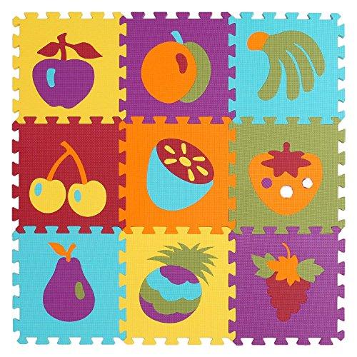 WElinks - Alfombrilla de espuma para bebé, 9 piezas, diseño de frutas, acolchado protector para suelo de bebé, para juegos de juegos, entrelazados, puzle de espuma, grueso, para niños, para jugar a suelos, alfombras para el hogar, alfombrilla de suelo para niños y casas de juegos