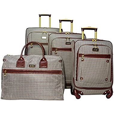 Nicole Miller Taylor Set of 4: Box Bag, 20 , 24 , 28  Spinner Luggages (Brown Plaid)