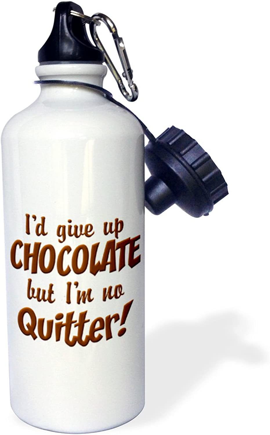 3dpink Text with Id give up Chocolate  - Sports Water Bottle, 21oz (wb_44580_1)