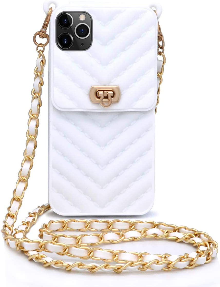 LUVI for iPhone 11 Pro Wallet Case with Neck Strap Crossbody Strap Lanyard Handbag Wrist Strap Protective Cover Credit Card Holder Slot Purse for Girls Women Silicone Case for iPhone 11 Pro White