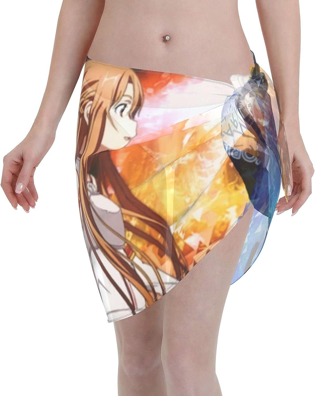 Anime Sword Art Online SAO Women Short Sarongs Beach Wrap Sheer Bikini Wraps Chiffon Cover Ups for Swimwear (5519in) Black
