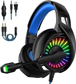 【2020最新版】ゲーミングヘッドセット PC 高音質 ps4 ヘッドセット 3.5mm 密閉型 虹色LEDライト マイク付き 超軽量 ノイズキャンセリング マイクミュート機能付き 伸縮可能 switch スイッチ fps Nintendo Xbox One PUBG 男女兼用