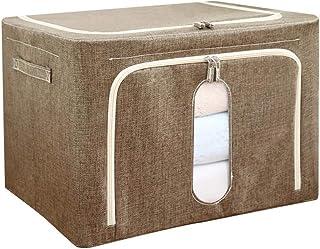 Tissu Boîte De Rangement Pliable, Ouverture Double Armoire Placard Organisateur Avec Poignée, Fenêtre Transparente Avec Fe...