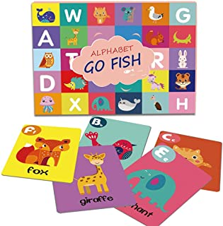 Alphabet Go Fish, Old Maid, Slap Jack, War Classic Card Games, ABC Letters Learning Animal Picture Recognition Card Game for Kids - 52 Cards