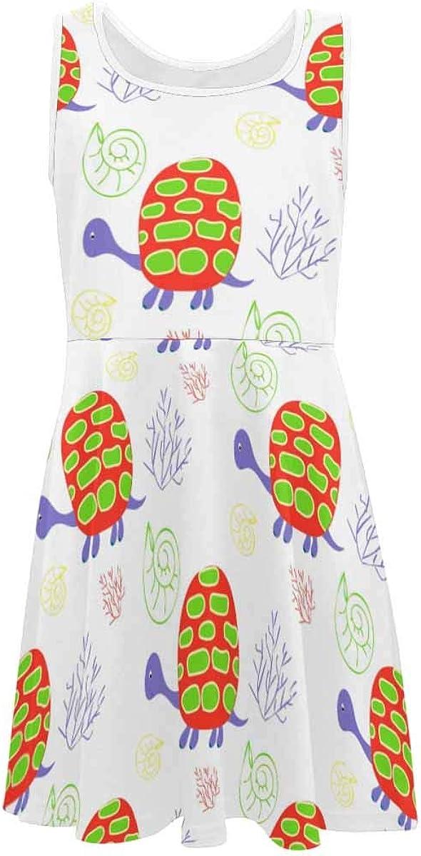InterestPrint Girls Sleeveless Round Neck Dress Casual Party Dress Turtle Pattern (2T-XL)