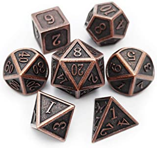 Haxtec Antique Copper Metal DND Dice Set 7 Die D&D Dice for Dungeons and Dragons Games