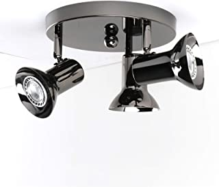 Pathson Flush Mount Track Lighting, Round Base Adjustable Fixed Ceiling Light Fixtures with Trumpet lamp Shade, 3-Light Close to Ceiling Spot Lights Kits for Kitchen Hallway (Pearl Black)