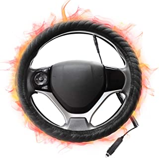 SEG Direct Heated Steering Wheel Cover Small-Size for Prius Civic Camaro Spark Rogue Mini Smart Audi with 14
